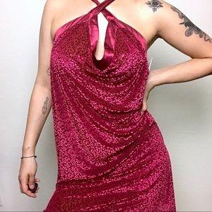 NWT red velvet floral sheer halter slip dress